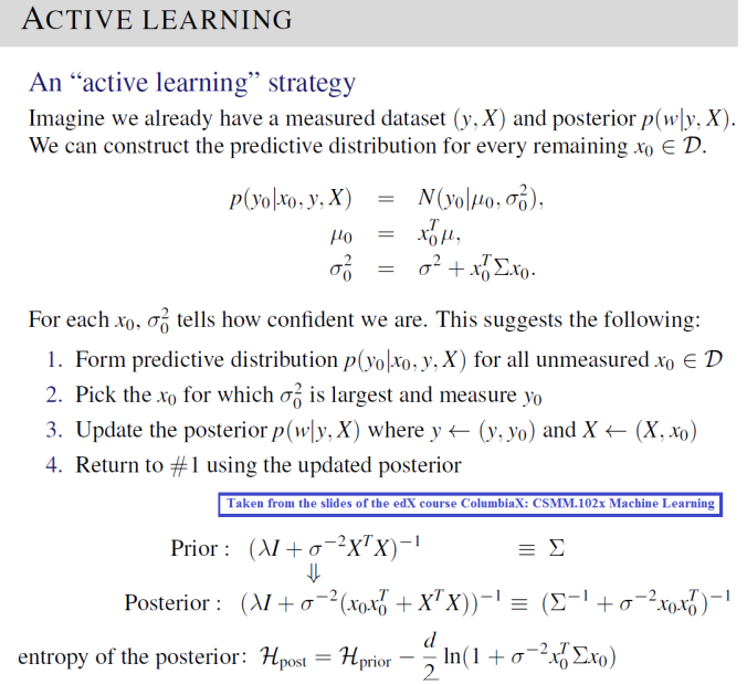 Active Learning using uncertainties in the Posterior