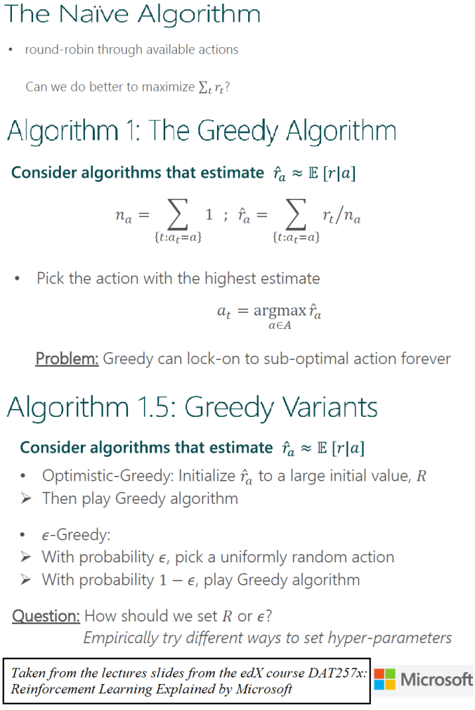 Some Reinforcement Learning: The Greedy and Explore-Exploit